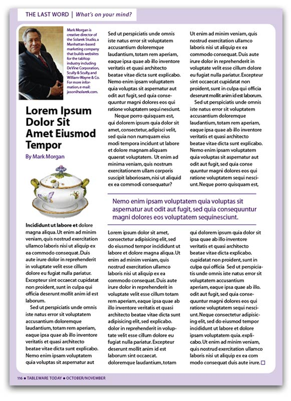 Tableware Today Magazine Page Design  sc 1 st  Solarek Studio & Tableware Today Magazine - Solarek Studio
